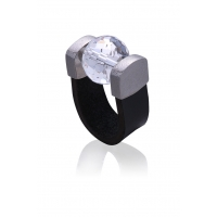 Mountain Crystal Leather Ring in Palladium
