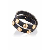 Double Wrap Black Snake Bracelet with Gold Stones