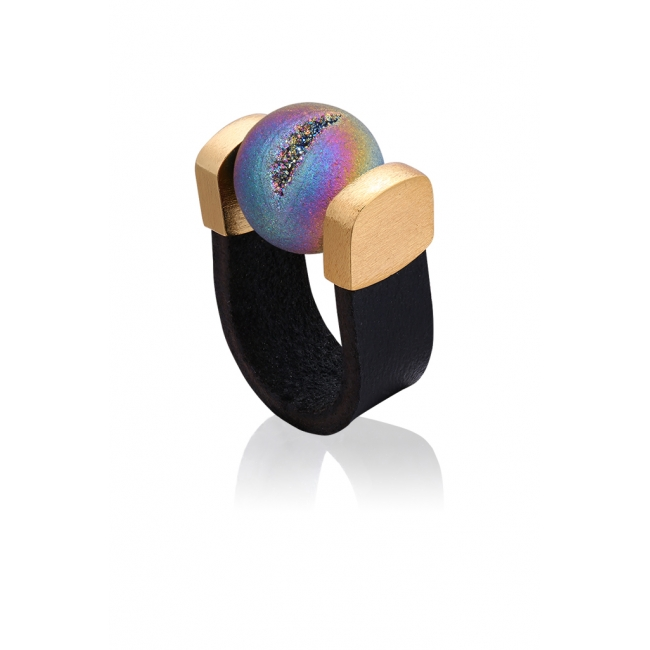 Agate Druzy Rainbow Ring in Gold